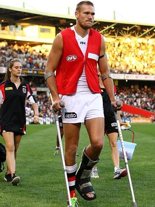 Sam Gilbert heads to the change rooms at half time.