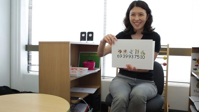 Shichida Chatswood centre manager and teacher Hanako Ward uses flash cards in the 'brain training program'