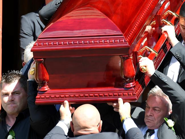 Karen Ristevski's brother Stephen Williams (left) and husband Borce Ristevski (right) carry her coffin at her funeral service at St Johns Uniting Church in Essendon, Melbourne on March 6, 2017. Picture: Nicole Garmston