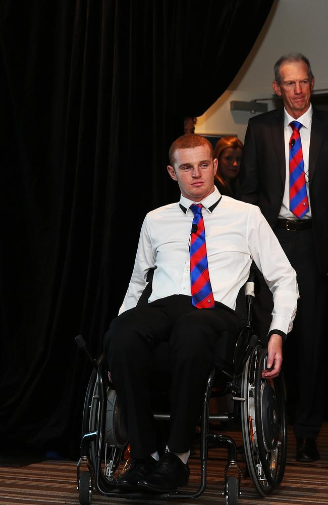 Newcastle Knights forward Alex McKinnon with coach Wayne Bennett during a press conference at ANZ Stadium for the RiseForAlex round of NRL. pic. Phil Hillyard