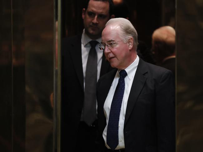 Tom Price at Trump Tower in New York. Picture: AP.