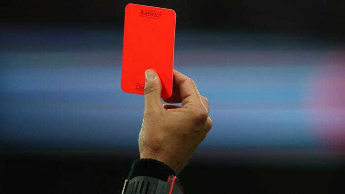 LONDON, ENGLAND - JUNE 02: Referee Fernando Santos from Italy shows a red card during the International Friendly match between England and Portugal at Wembley Stadium on June 2, 2016 in London, England. (Photo by Matthew Ashton - AMA/Getty Images)