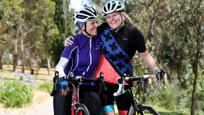 Event ambassador Margaret Boylan with fellow cyclist Felicity Brown. Picture: Tricia Watkinson