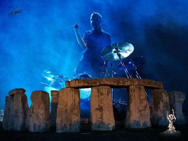 "School of rock ... Stonehenge's iconic bluestones are said to ""sing"", emitting bell-like tones when struck. Like Metallica's Lars Ulrich and his drumkit. Or not. Picture: MATT PIKE"