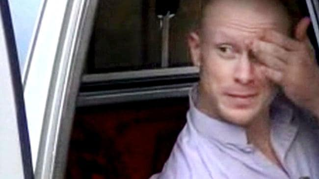 Freed ... Sgt. Bowe Bergdahl, sits in a vehicle guarded by the Taliban in eastern Afghanistan. Picture: Voice Of Jihad website via AP video