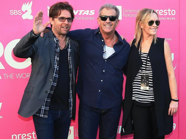 John Polson, Mel Gibson and Rebecca Gibney at the Tropfest film festival in Centennial Park. Picture: Toby Zerna