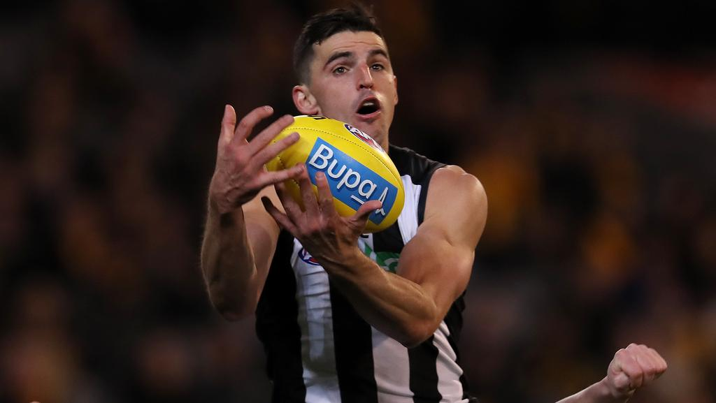 Scott Pendlebury is nursing a sore hand. Picture: Michael Klein