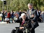 Rat of Tobruk Bill Corey, 100, with son Don, at the Anzac Day memorial parade, Adelaide. Picture: Tricia Watkinson.