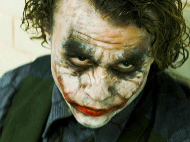 Actor Heath Ledger as The Joker in a scene from the 2008 film 'The Dark Knight'.