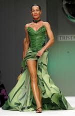Seen modelling at the Tristan Webber fashion show as part of London Fashion Week in 2004. Picture: Gareth Cattermole/Getty Images
