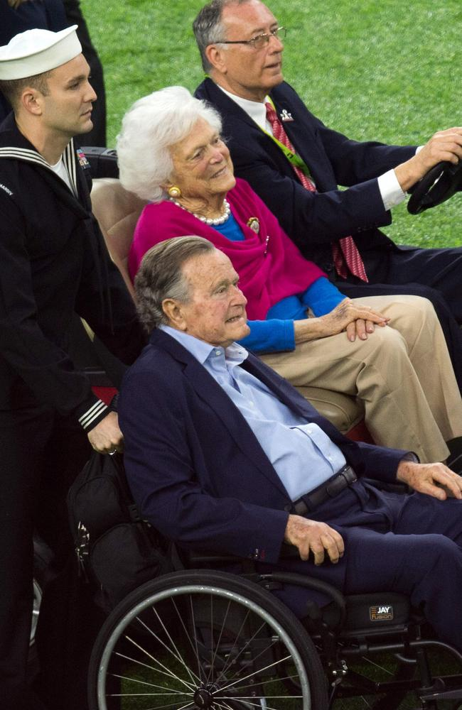 Mr and Mrs Bush have both faced serious health problems in recent years. Picture: AFP Photo /Valerie Macon