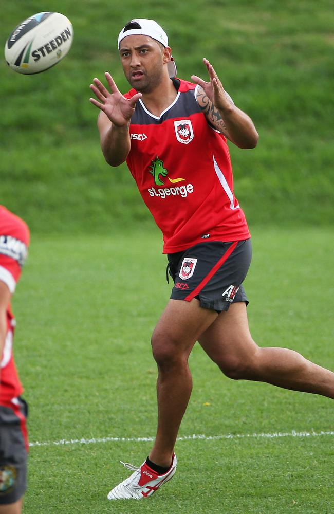 Benji Marshall focuses on a training drill. Pic: Phil Hillyard