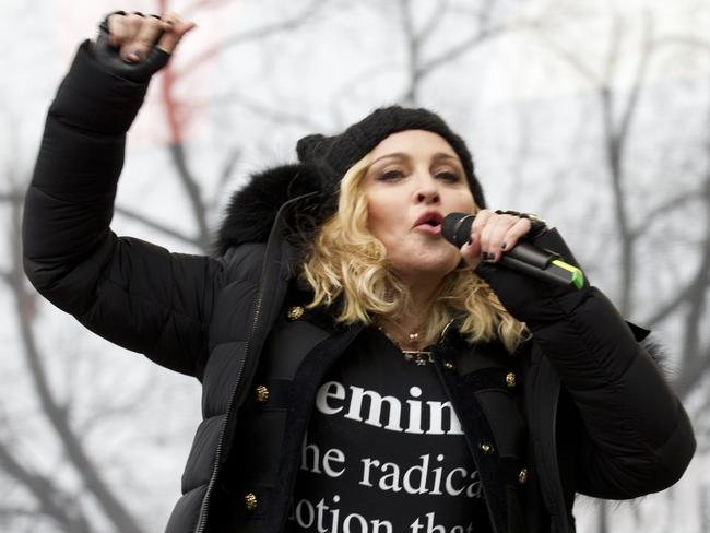 Madonna performed after making a speech at the Women's March in Washington. Picture: Jose Luis Magana/AP