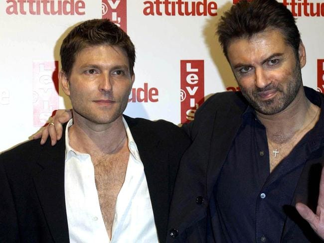 George Michael with his then-partner Kenny Goss in 2004. Picture: Supplied