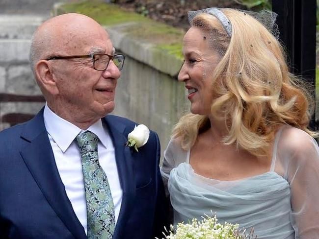 Happy couple ... Rupert Murdoch and Jerry Hall are all smiles. Picture: Joel Ryan/Invision/AP