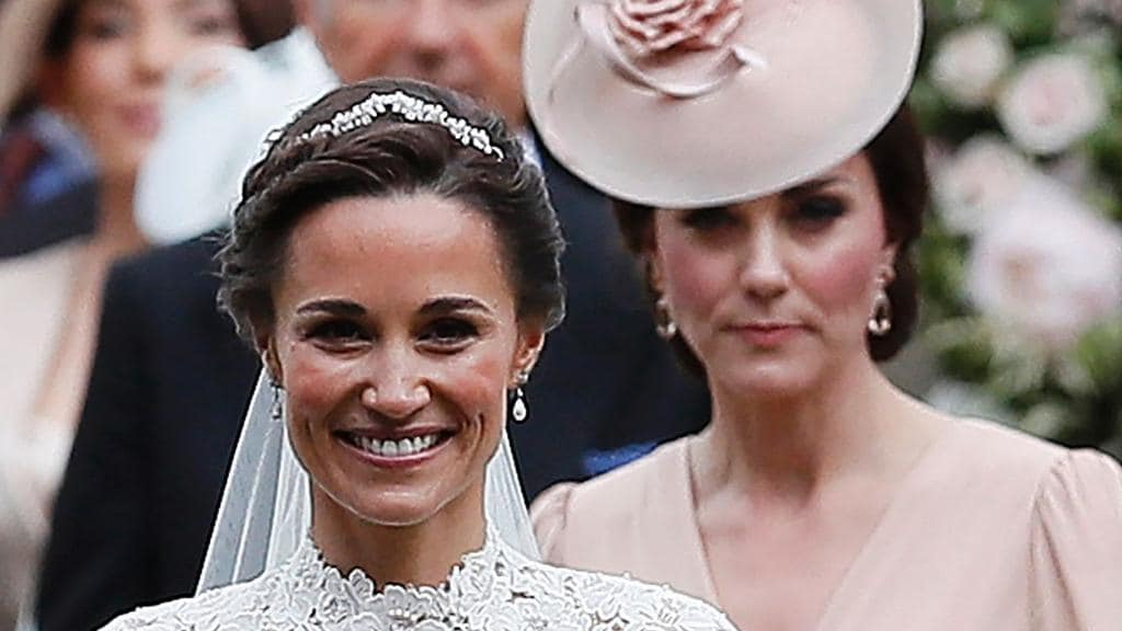 Catherine, Duchess of Cambridge, (R) follows Pippa Middleton following her sister's wedding. Picture: AFP