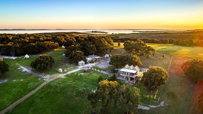 The stunning property grounds at sunset.
