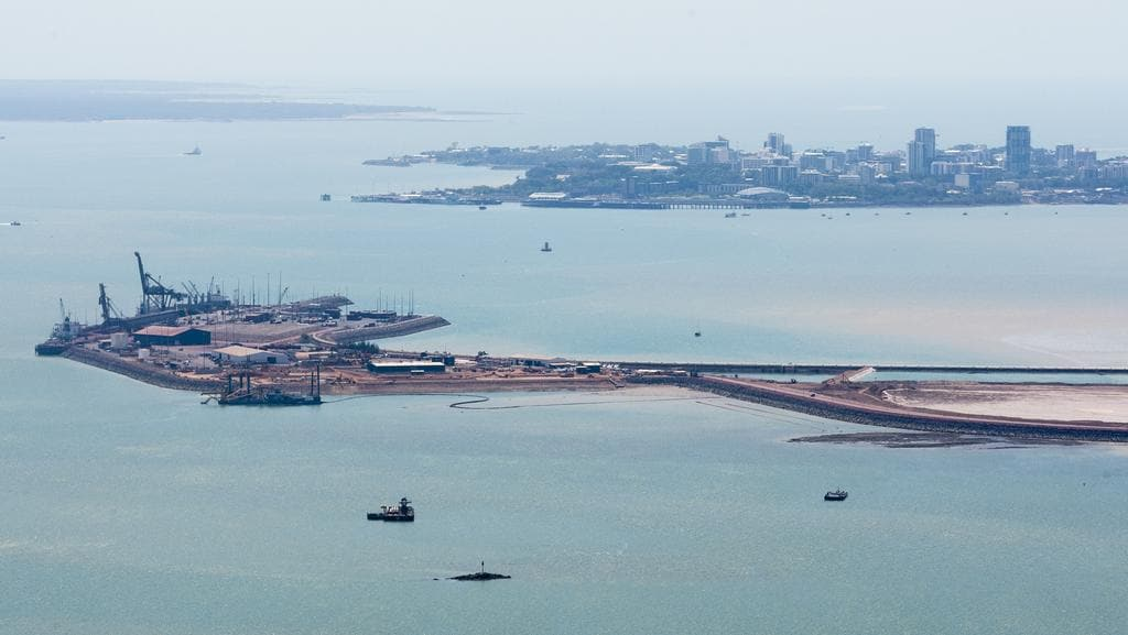 A boat with 40 litres of diesel fuel sank in Darwin Harbour on Wednesday. PICTURE: Amos Aikman