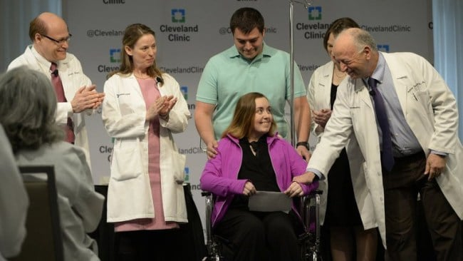 Lindsey at the press conference following her transplant