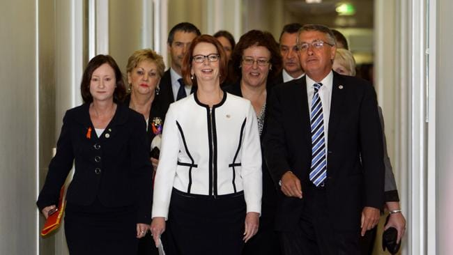 That was then: Julia Gillard with supporters arriving for the Labor leadership spill vote in February 2012.