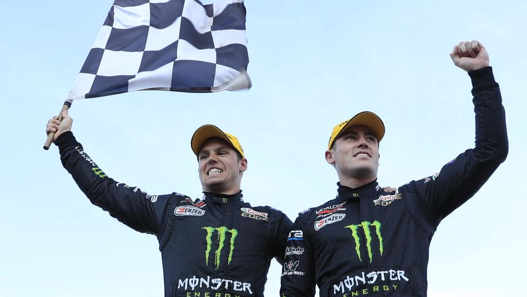 Cameron Waters and Richie Stanaway win the Sandown 500. Pic: Mark Horsburgh