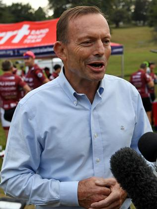 Former prime minister Tony Abbott at Warragul before taking part in the Pollie Pedal Bike Ride through Gippsland, Victoria on Monday. Picture: Joe Castro/AAP