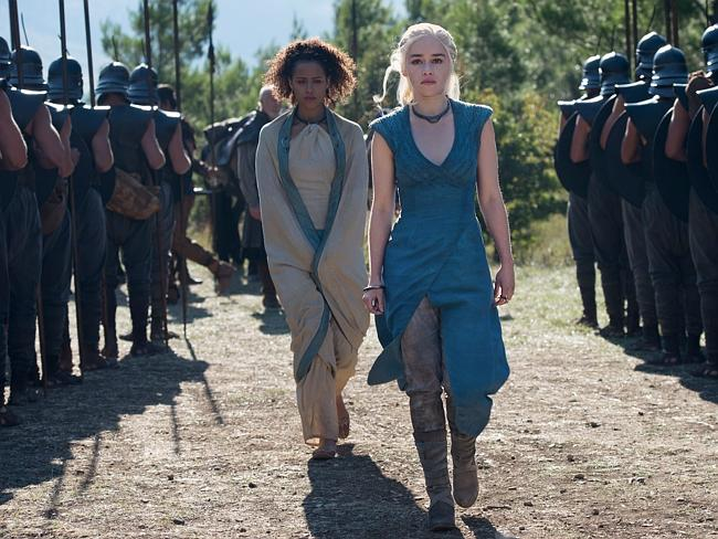 "Emilia Clarke stars as Daernerys Targaryen and Nathalie Emmanuel plays Missandei in ""Game of Thrones."""