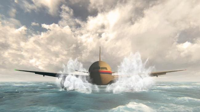 An artist's impression of MH370 landing in the ocean. Picture: 60 Minutes