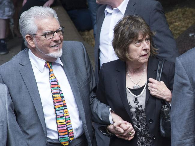 Before being jailed ... entertainer Rolf Harris accompanied by his niece Jenny arrive at Southwark Crown Court, in London. Picture: Bogdan Maran