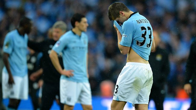 FA CUP FINAL. Wigan Athletic 1 d Manchester City 0 at Wembley. Manchester City's Matija Nastasic at the end of the match. Picture: Andrew Yates