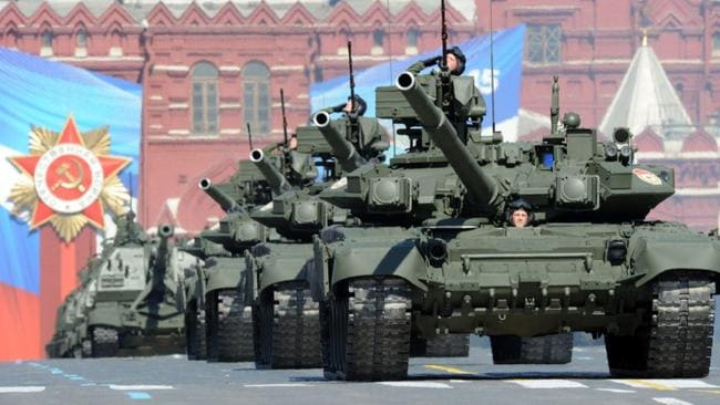 On parade ... Russia's frontline main battle tank, the T-90, during a Moscow parade.