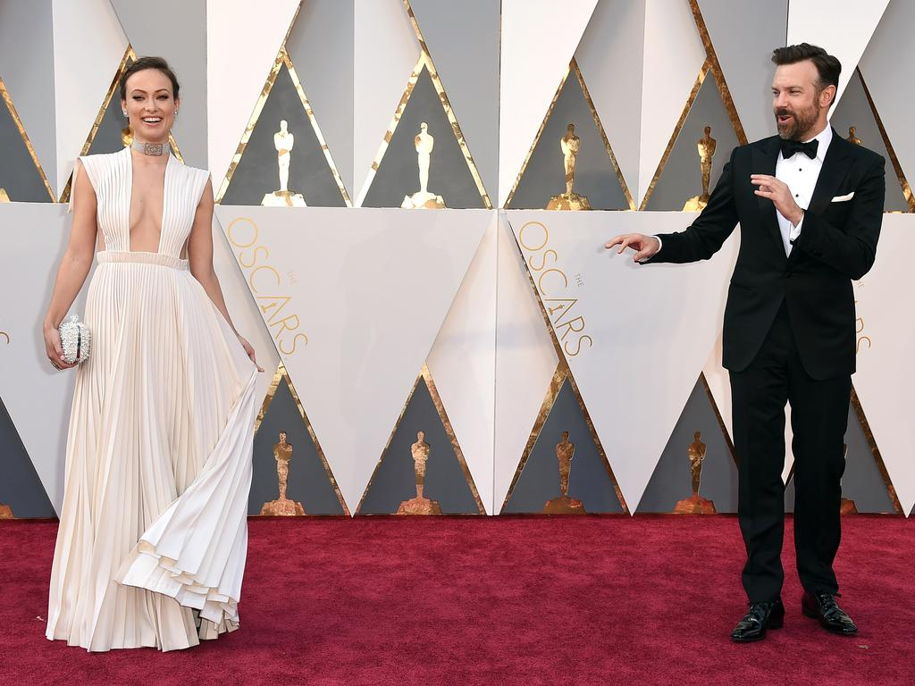Olivia Wilde and Jason Sudeikis attend the 88th Annual Academy Awards on February 28, 2016 in Hollywood, California. Picture: AP