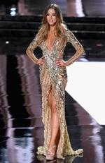 Miss Australia 2015, Monika Radulovic, competes in the evening gown competition during the 2015 Miss Universe Pageant on December 20, 2015 in Las Vegas. Picture: Getty