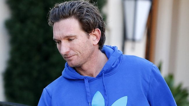 James Hird leaves his home this morning. Picture: Wayne Ludbey