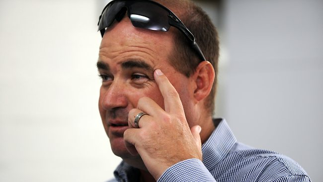 Mickey Arthur watched from the back of the room as North spoke to the media. Picture: Richard Polden