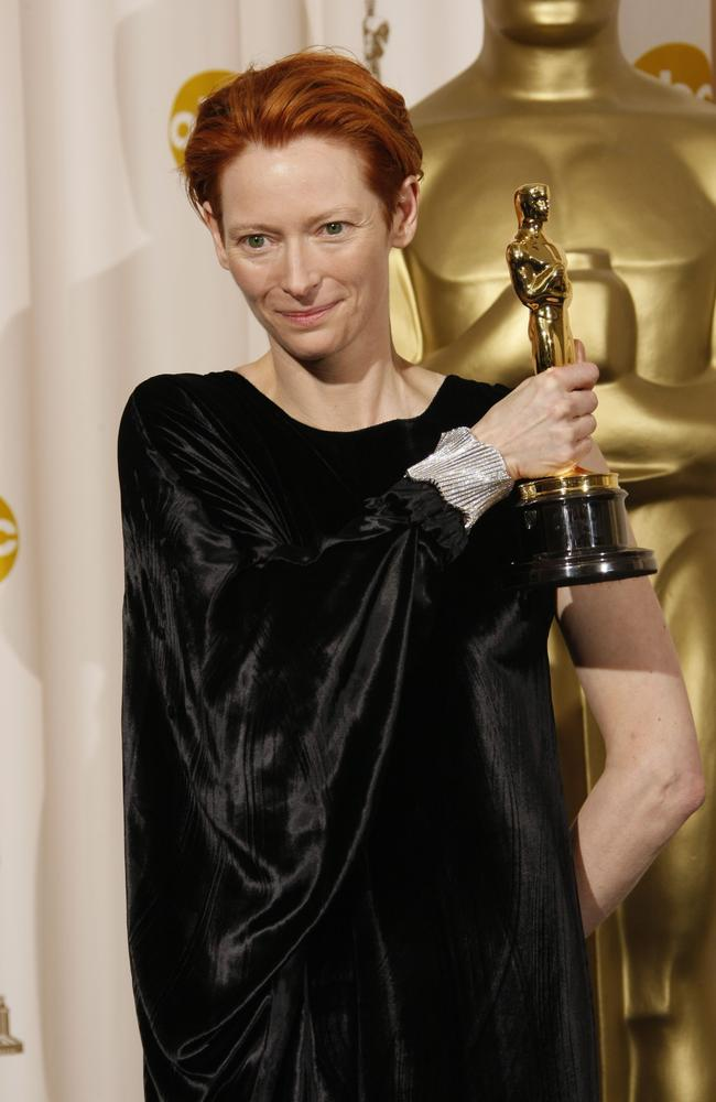 Winner for Best Supporting Actress for her role in Michael Clayton the wonderfully-kooky Tilda Swinton wore what looked like a velvet garbage bag at the 2008 Oscars. Picture: AFP