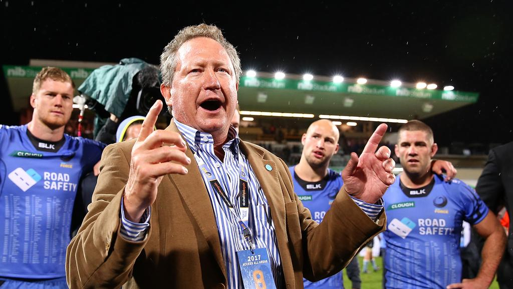 Andrew Forrest addresses the Force players and coaches after the match at nib Stadium.