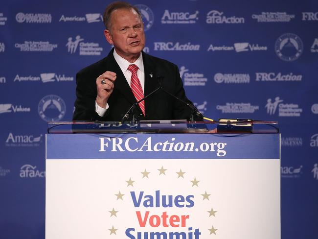 Roy Moore, Republican Senate candidate and former chief justice on the Alabama Supreme Court, has been accused of having inappropriate sexual contact with a 14-year-old. Picture: AFP/Getty Images/Mark Wilson