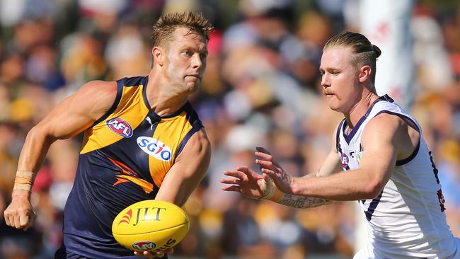 Sam Mitchell racked up 28 touches in West Coast's big win over Fremantle. Picture: Getty Images