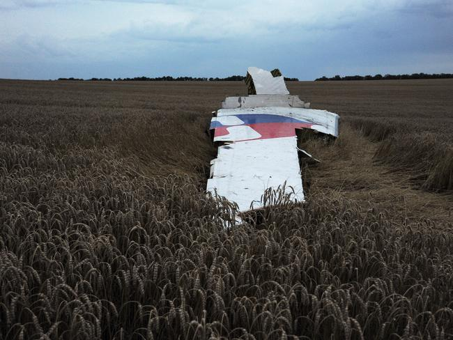 Wreckage of MH17 near the town of Shaktarsk, in rebel-held east Ukraine. Picture: AFP