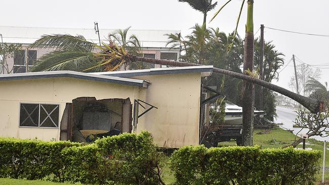 Cyclone Debbie ripped a gaping hole in this Airlie Beach home. Picture: Alix Sweeney