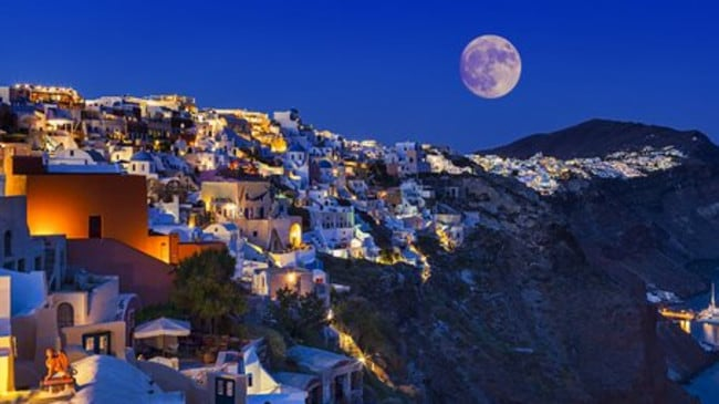The supermoon over Santorini in Greece on January 2. Picture: @GFoukas