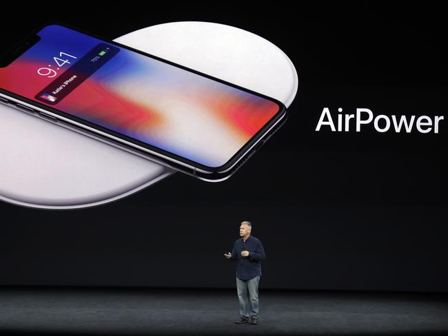 Phil Schiller, Apple's senior vice president of worldwide marketing, discusses features of the new AirPower product. Picture: AP