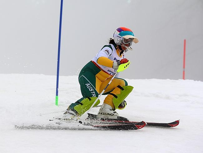 Melissa Perrine of Australia competes in the Women's SC Slalom (with Super-G) Run 1, Visually Impaired during day four of Sochi 2014 Paralympic Winter Games.)