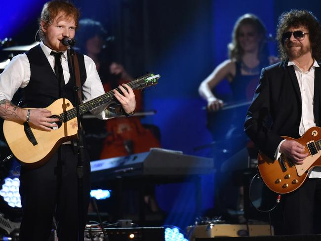 Old hit, new sensation ... Ed Sheeran, left, and Jeff Lynne perform. Picture: John Shearer/Invision/AP