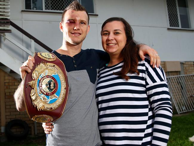 World Champion boxer Jeff Horn and his wife Jo at home in Acacia Ridge.