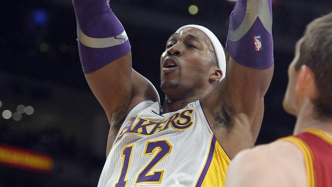 Center Dwight Howard dunks for the LA Lakers.
