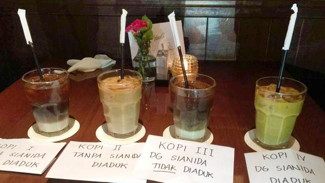 Cups of Vietnamese iced coffee used during a police reconstruction of the murder of Mirna Salihin at the Cafe Olivier in Jakarta. Salihin died after drinking an iced coffee laced with cyanide. Picture: Supplied