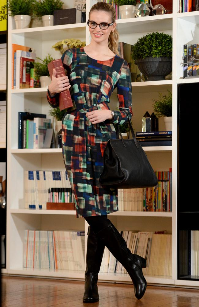 Teaching Look: Meredith Metro Print dress $99, Meredith Leather Zip Tote $399, Isabella Anselmi boots by Merchant boots $249.90, Mimco Round Glimmer Watch $199. Picture: Kylie Else