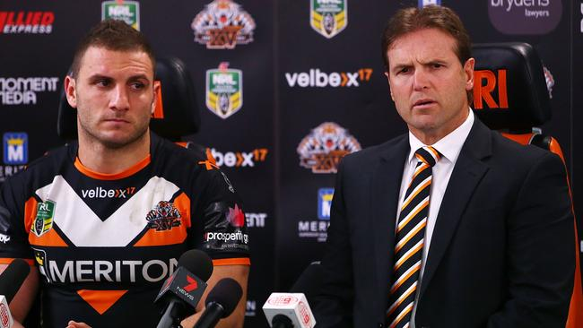 Mick Potter and Robbie Farah talk to the media after their clash with the Dragons.